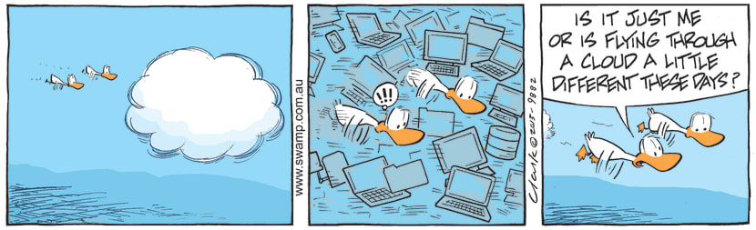 Swamp Cartoon - Aviator Ducks are Flying Through CloudJuly 27, 2021