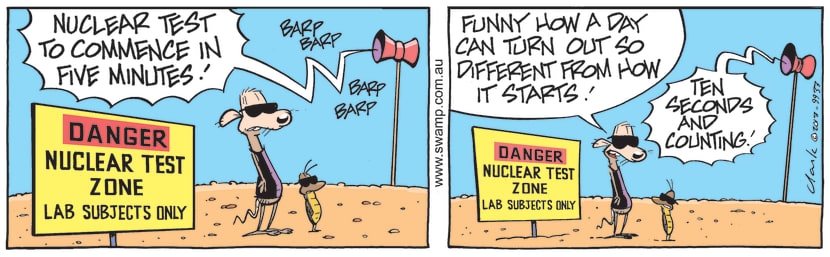 Swamp Cartoon - Nuclear Test to CommenceAugust 11, 2021