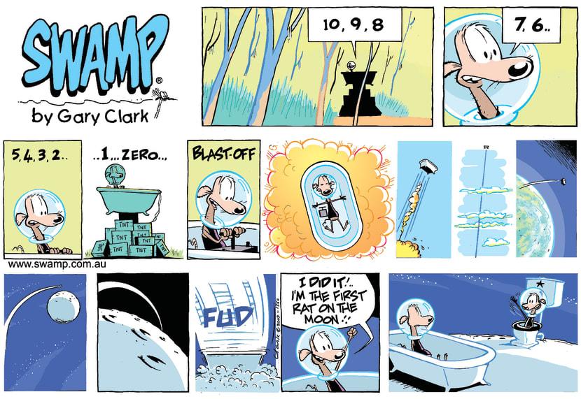 Swamp Cartoon - Rat Prepares for Trip into SpaceJune 27, 2021