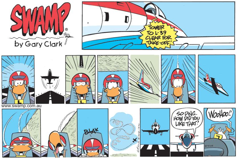 Swamp Cartoon - Ding Duck Flight in JetMay 9, 2021