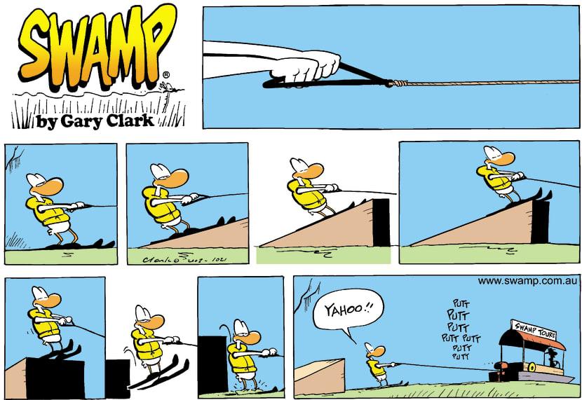 Swamp Cartoon - SkiingFebruary 2, 2003