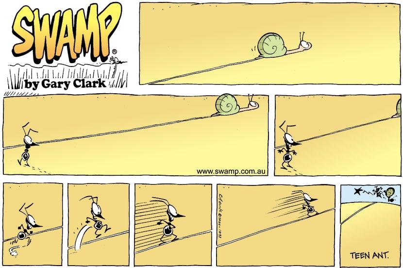 Swamp Cartoon - Snail TrailJune 20, 2004
