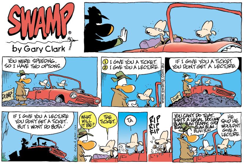 Swamp Cartoon - Traffic CrimeAugust 22, 2004