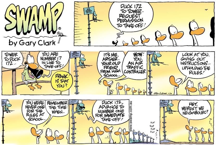 Swamp Cartoon - Ducks on ParadeApril 3, 2005