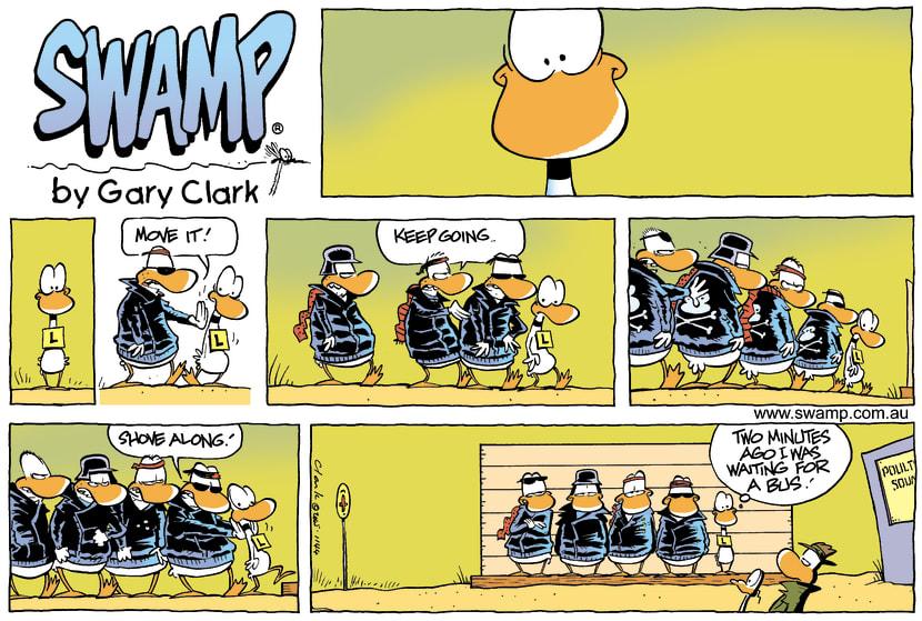 Swamp Cartoon - Ding Duck Meets Wild Ducks ComicJune 12, 2005