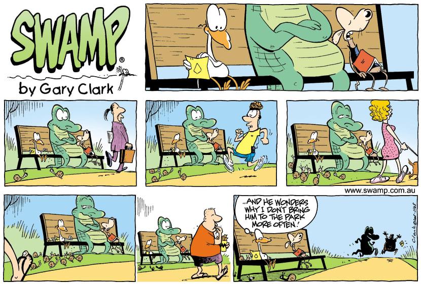 Swamp Cartoon - Old Man Croc Lunch ComicJune 19, 2005