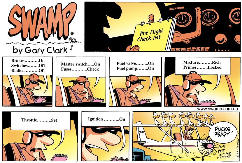 Swamp Cartoon - Pre-Flight Check List ComicJuly 17, 2005