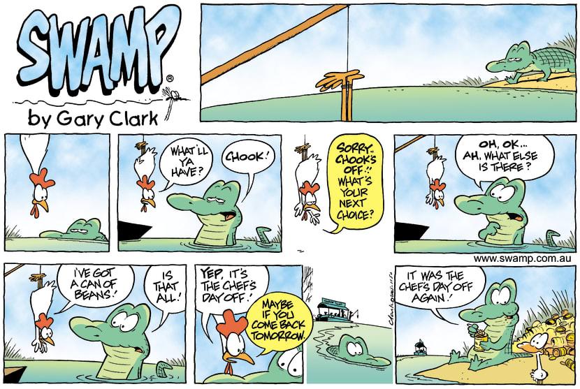 Swamp Cartoon - Croc feeding timeJuly 24, 2005
