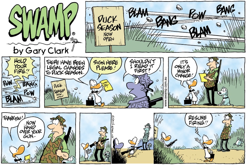 Swamp Cartoon - Duck Hunting LegalitiesAugust 7, 2005