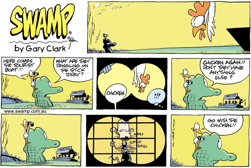 Swamp Cartoon - Old Man Croc and Chicken Dinner ComicApril 29, 2007