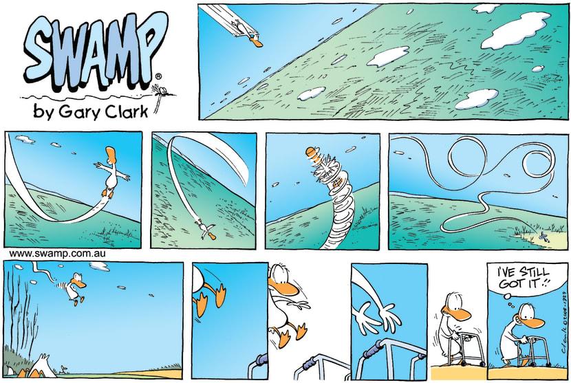 Swamp Cartoon - Duck Flies Memory LaneJanuary 18, 2009