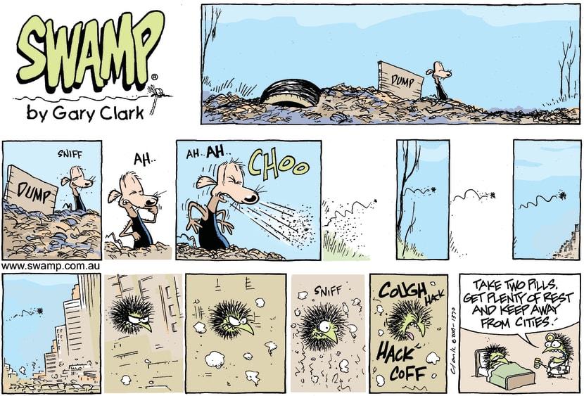 Swamp Cartoon - a cough a day….October 25, 2009