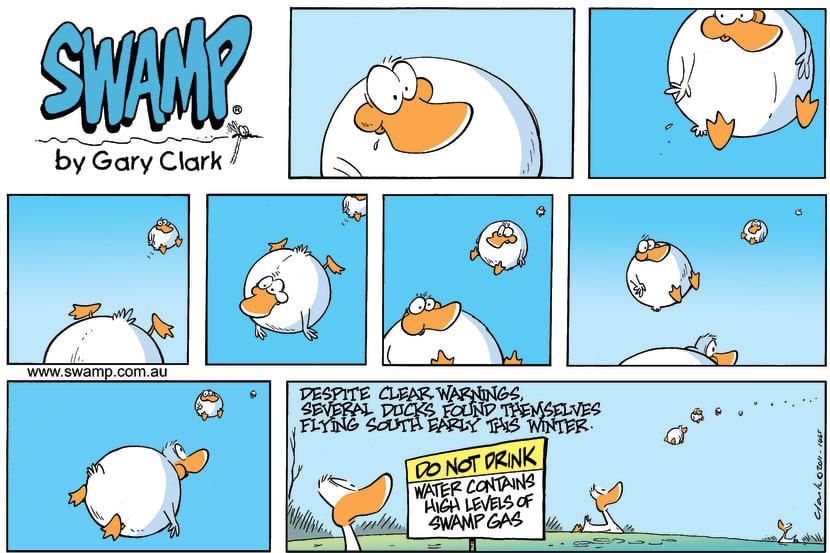 Swamp Cartoon - Ducks Fly South Early ComicAugust 24, 2014