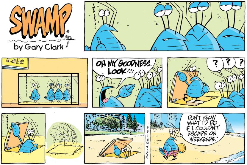 Swamp Cartoon - Bob the Crayfish Beach ComicOctober 26, 2014