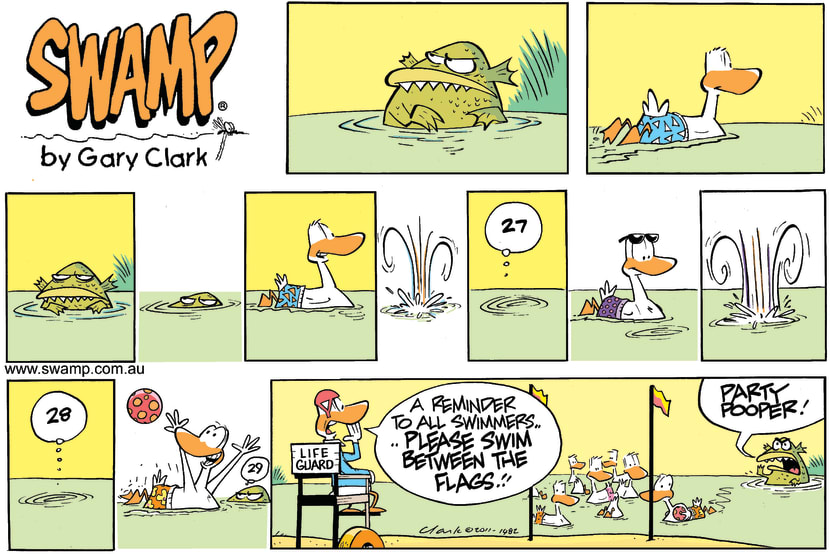 Swamp Cartoon - Swamp Ducks Beach FlagsDecember 18, 2011