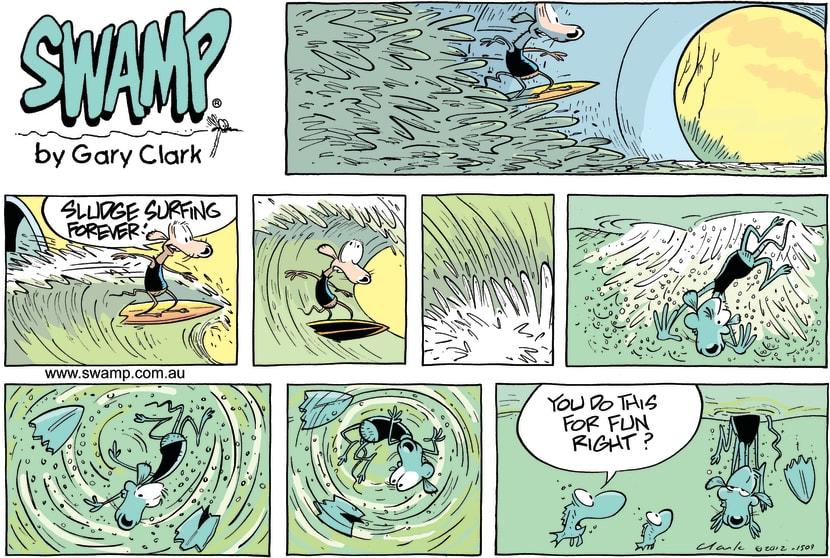 Swamp Cartoon - Thrills of Sludge Surfing ComicJuly 8, 2012