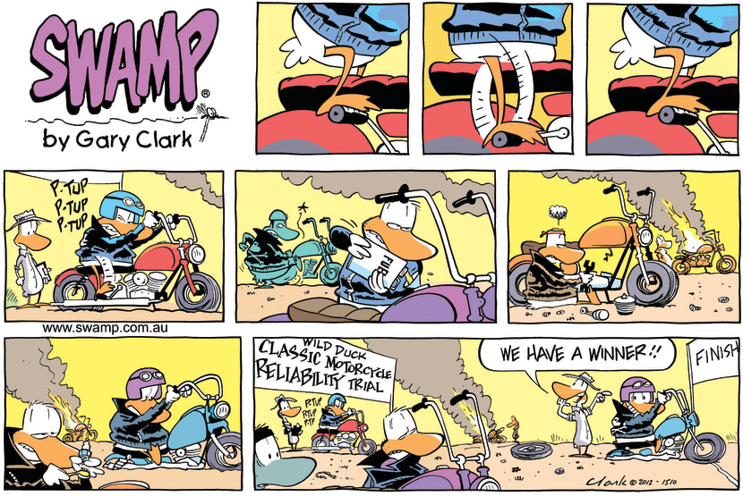 Swamp Cartoon - Classic Motorcycle Reliability ComicJuly 15, 2012