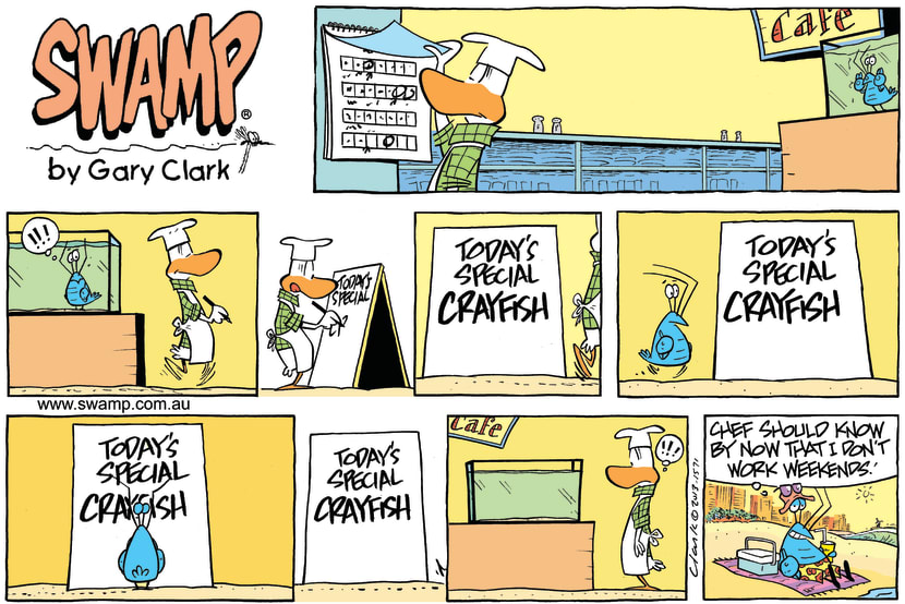 Swamp Cartoon - Bob Crayfish Weekends ComicApril 26, 2015