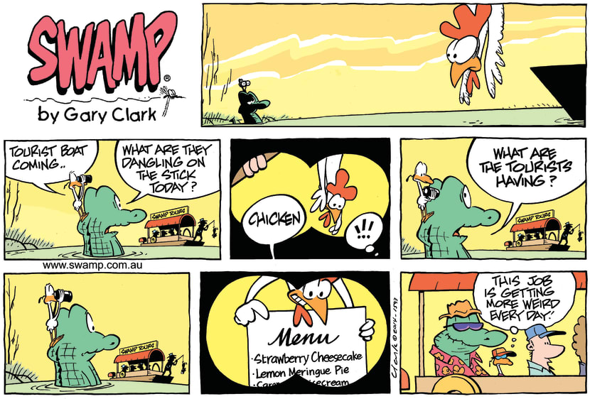 Swamp Cartoon - Old Man Croc and Tourist Boat ComicMarch 9, 2014