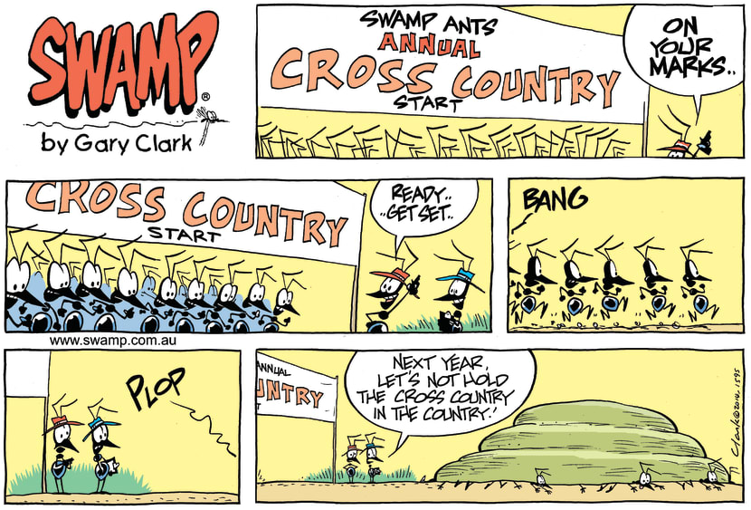 Swamp Cartoon - Swamp Ants Cross Country Race ComicMarch 23, 2014