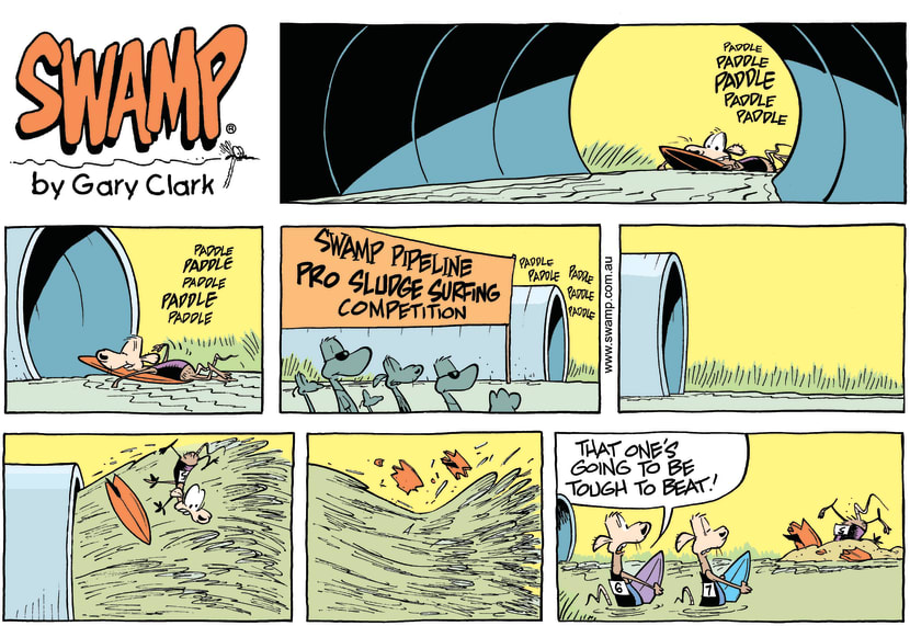 Swamp Cartoon - Swamp Pipeline Surf Competition ComicApril 6, 2014