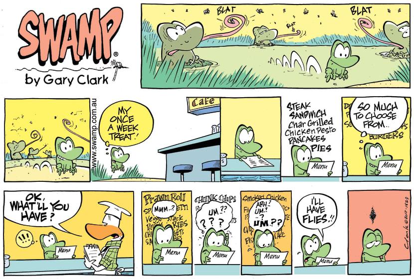 Swamp Cartoon - Mort Frog Menu ComicMarch 1, 2015
