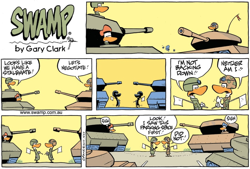 Swamp Cartoon - War Games Stalemate ComicMarch 29, 2015