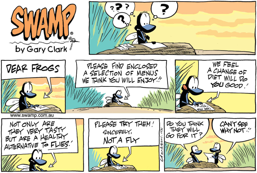 Swamp Cartoon - Swamp Flies Trick Frogs ComicApril 19, 2015