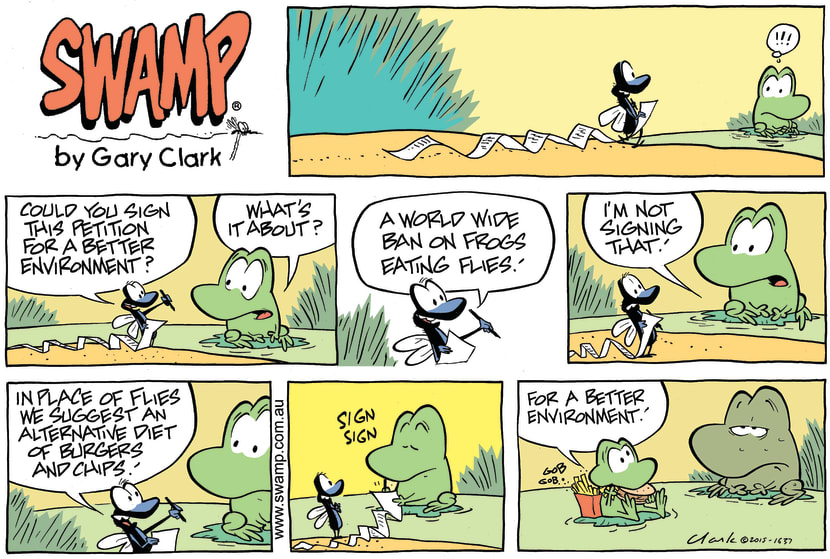 Swamp Cartoon - Mort Frog Petition ComicMay 3, 2015