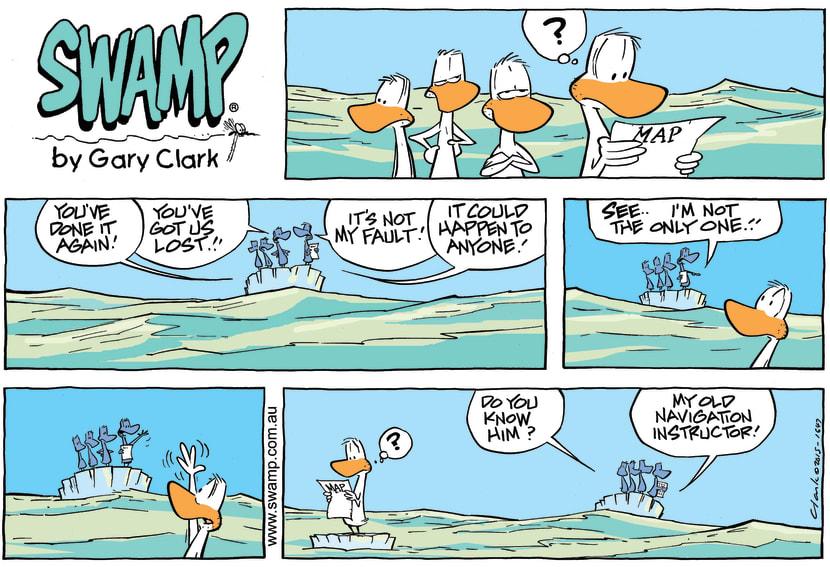 Swamp Cartoon - Swamp Ducks Lost at Sea ComicJuly 12, 2015