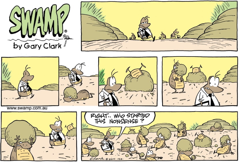 Swamp Cartoon - Dung Beetle Fight ComicMarch 6, 2016