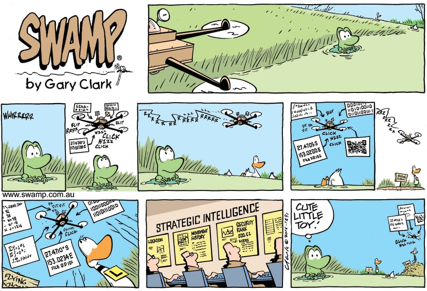 Swamp Cartoon - Mort Frog Drone comicMay 15, 2016