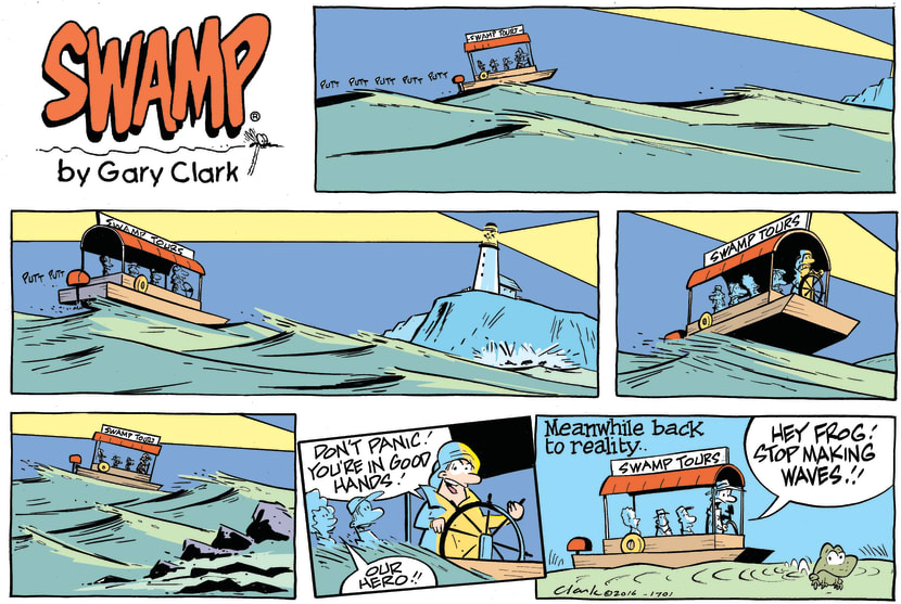 Swamp Cartoon - Swamp Tour Boat Waves ComicJuly 17, 2016