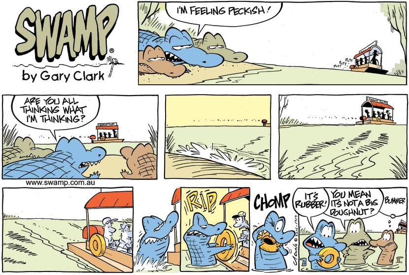 Swamp Cartoon - Chompers Crocodile Eats Tyre ComicNovember 13, 2016