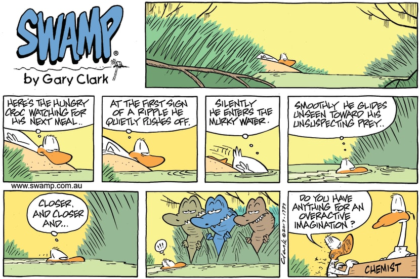 Swamp Cartoon - Duck Active Imagination ComicApril 23, 2017