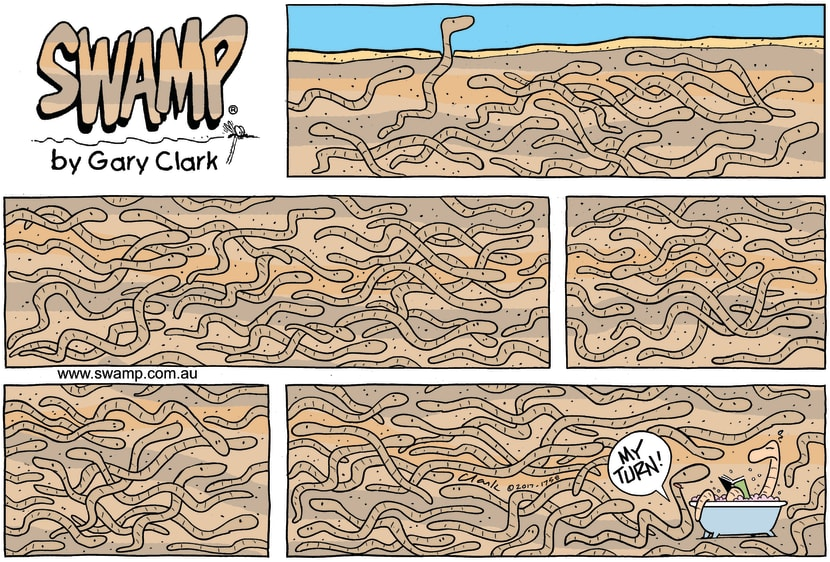 Swamp Cartoon - Swamp Worms Bath ComicSeptember 3, 2017