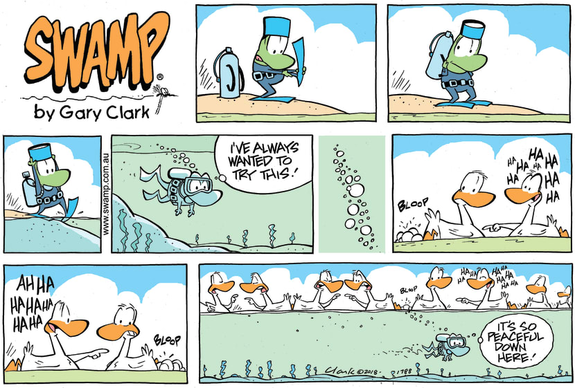 Swamp Cartoon - Mort Frog Bubbles ComicApril 1, 2018