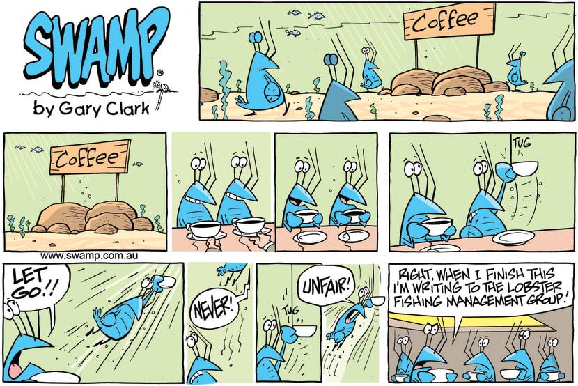 Swamp Cartoon - Bob Crayfish Coffee Cup ComicJune 3, 2018