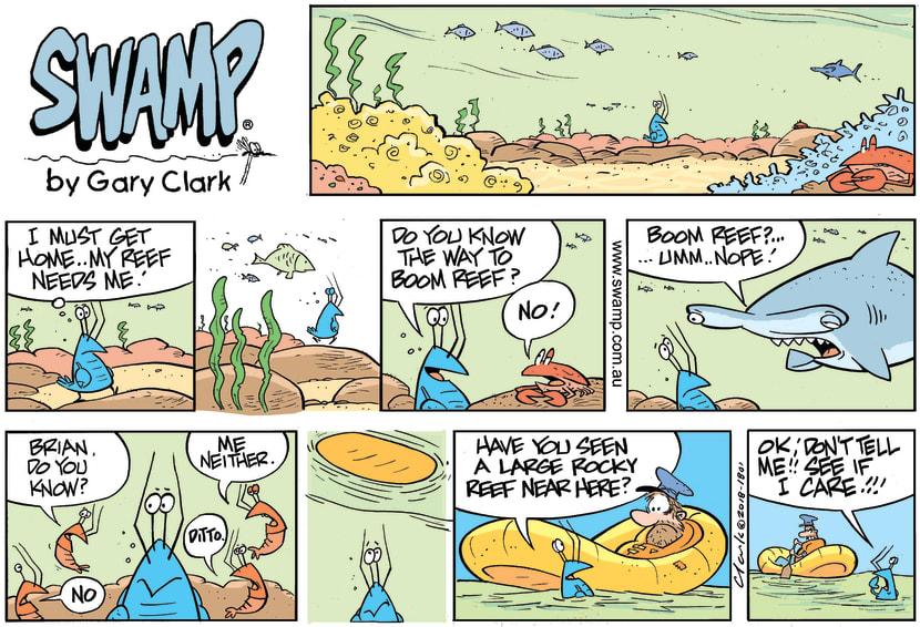 Swamp Cartoon - Bob Crayfish Boom Reef ComicJuly 1, 2018