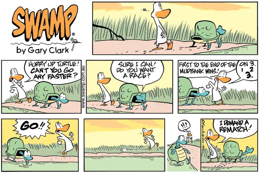 Swamp Cartoon - Duck Turtle RaceJune 30, 2019