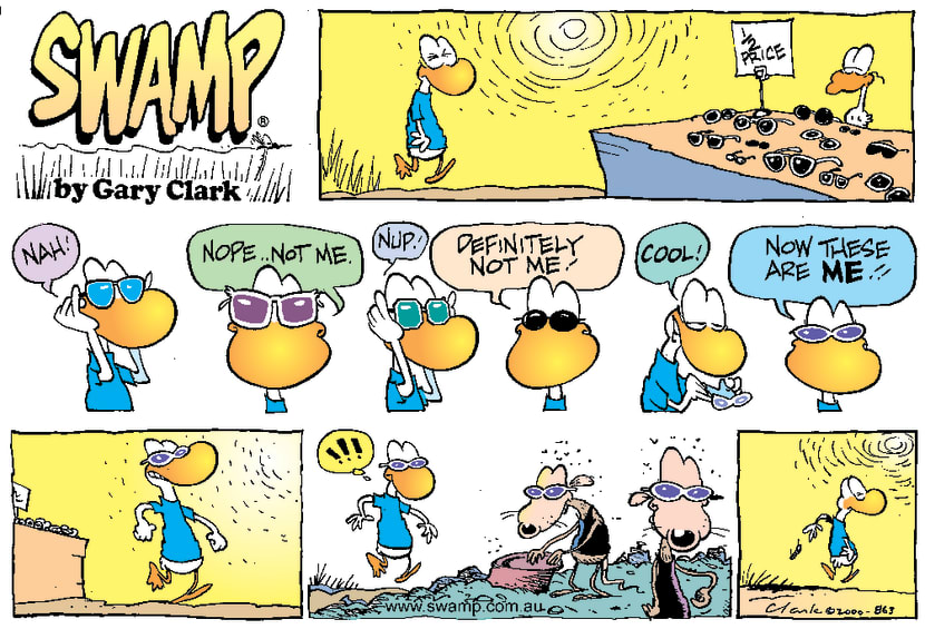 Swamp Cartoon - Choosing SunglassesJanuary 23, 2000