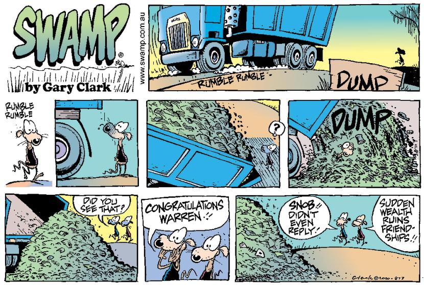 Swamp Cartoon - Dump Truck DeliveryApril 2, 2000