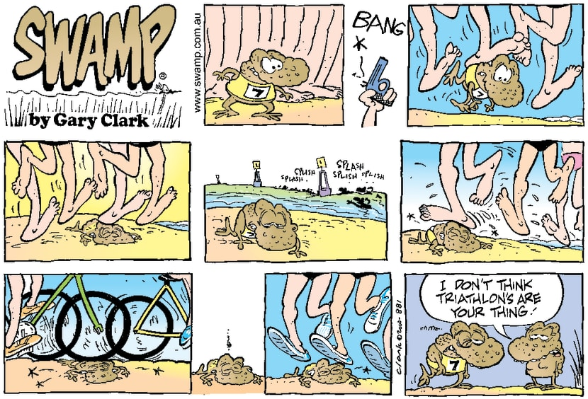 Swamp Cartoon - Toad TriathalonMay 28, 2000