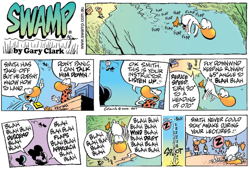 Swamp Cartoon - Hard LandingJuly 9, 2000