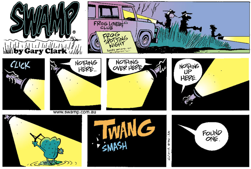 Swamp Cartoon - Frog SpottingMay 6, 2001