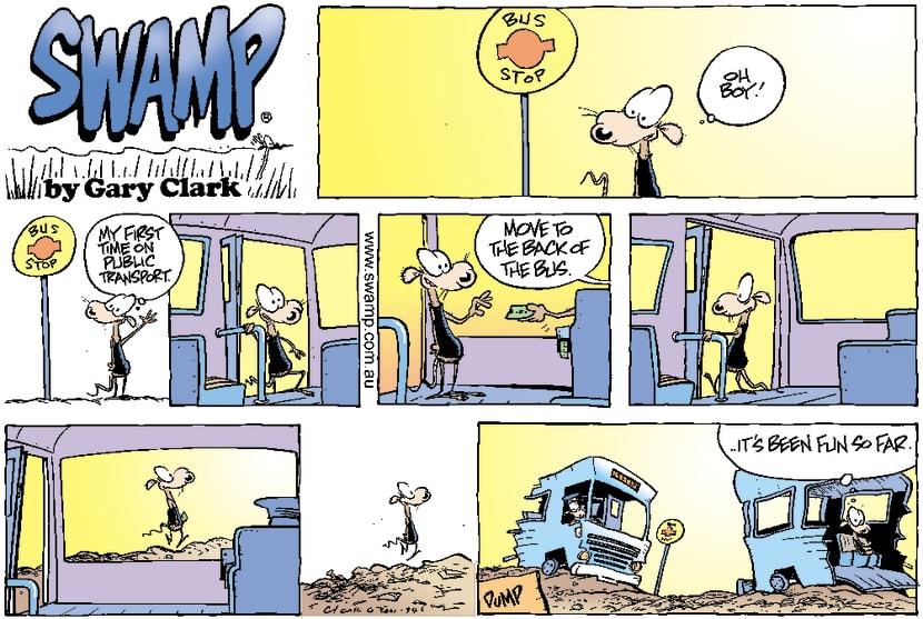 Swamp Cartoon - Bus Trip