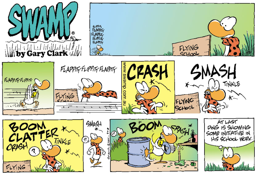 Swamp Cartoon - Ding Duck Crashing