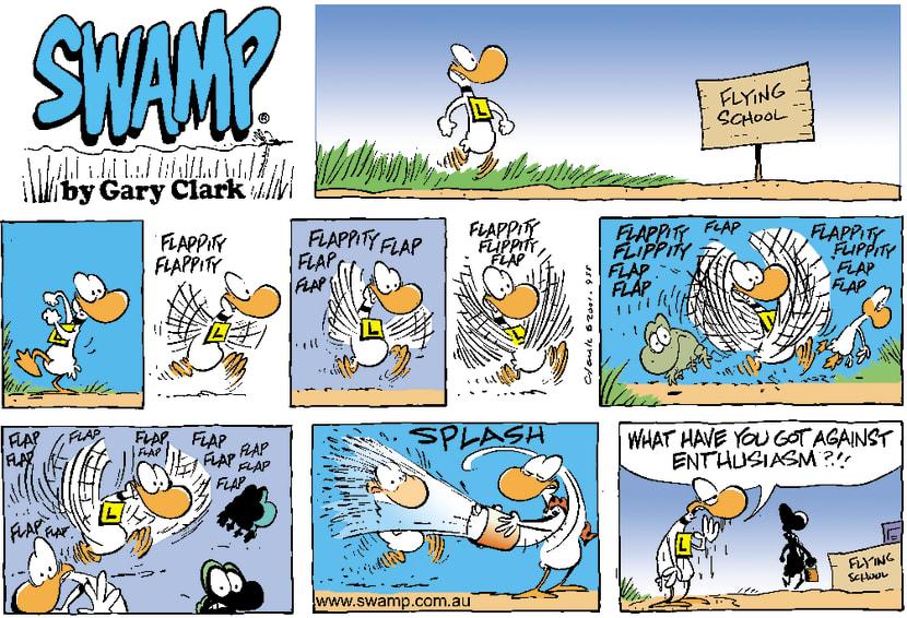 Swamp Cartoon - Flying AttemptOctober 28, 2001