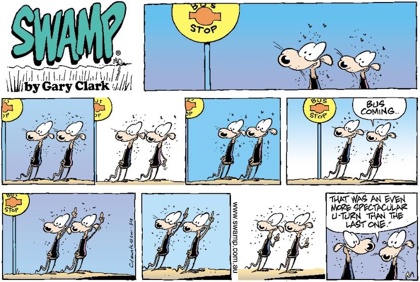 Swamp Cartoon - Bus StopNovember 18, 2001