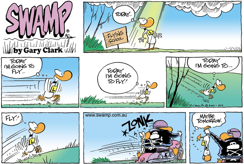 Swamp Cartoon - Ding Duck Crashes into Wild DuckFebruary 3, 2002